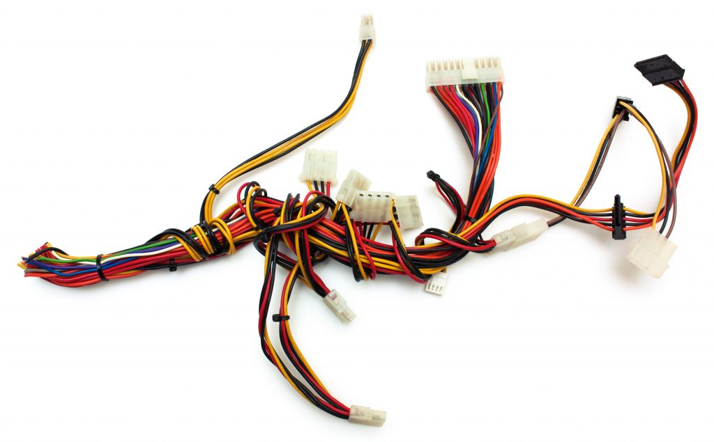 wire harnesses with connectors on a white background